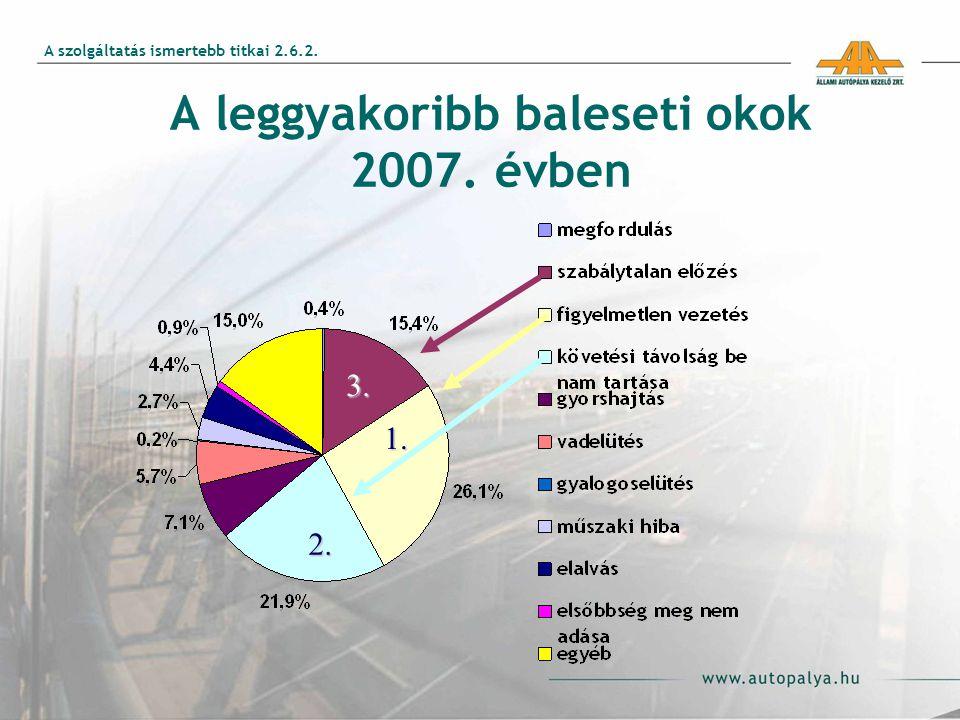 A leggyakoribb baleseti okok 2007. évben 3. 1. 2. A szolgáltatás ismertebb titkai 2.6.2.