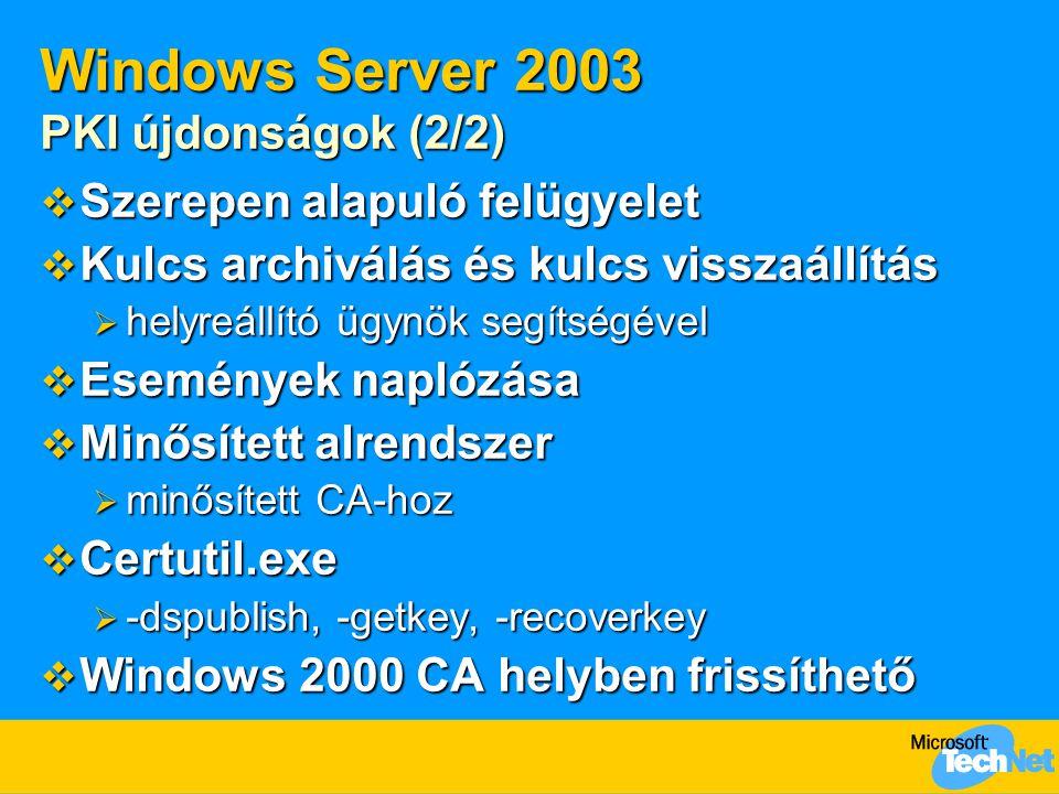 Windows Server 2003 PKI újdonságok (2/2)  Szerepen alapuló felügyelet  Kulcs archiválás és kulcs visszaállítás  helyreállító ügynök segítségével 