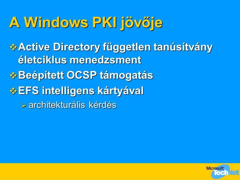A Windows PKI jövője  Active Directory független tanúsítvány életciklus menedzsment  Beépített OCSP támogatás  EFS intelligens kártyával  architek