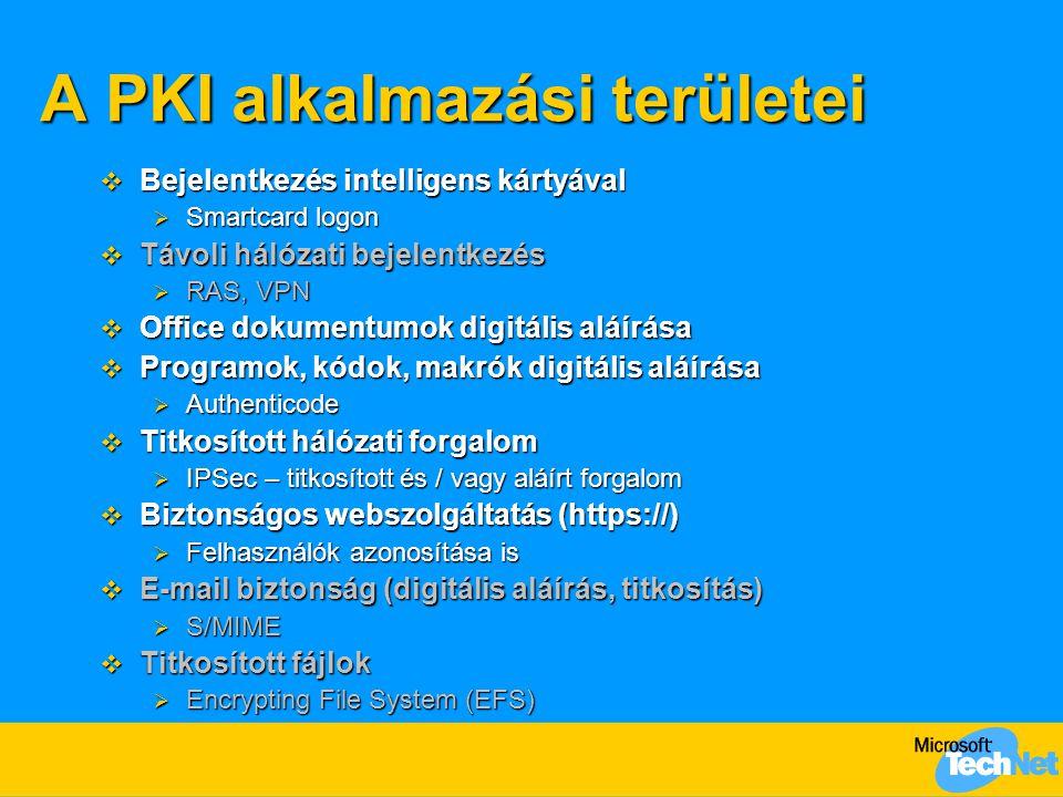 A PKI alkalmazási területei  Bejelentkezés intelligens kártyával  Smartcard logon  Távoli hálózati bejelentkezés  RAS, VPN  Office dokumentumok d