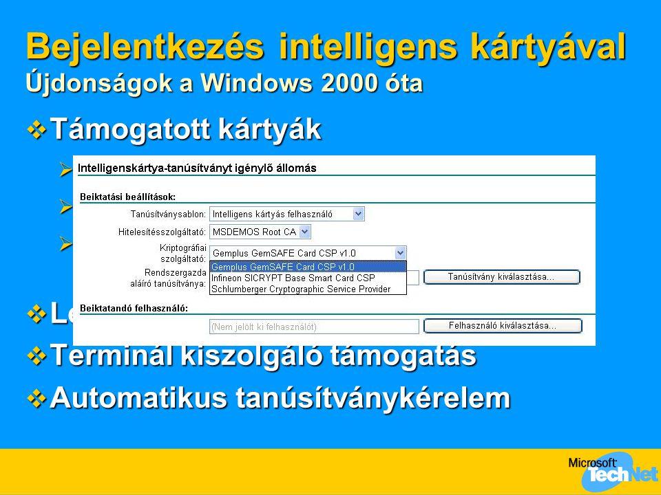Bejelentkezés intelligens kártyával Újdonságok a Windows 2000 óta  Támogatott kártyák  GemPlus GemSafe 4K, 8K  Infineon SICRYPT v2 (új)  Schlumber