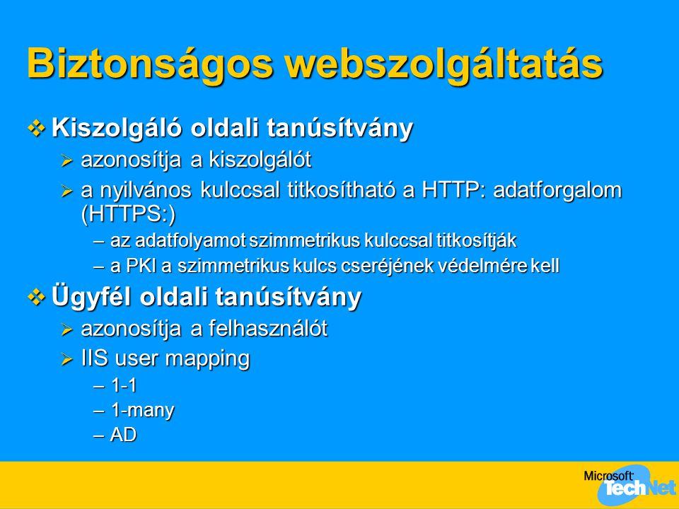Biztonságos webszolgáltatás  Kiszolgáló oldali tanúsítvány  azonosítja a kiszolgálót  a nyilvános kulccsal titkosítható a HTTP: adatforgalom (HTTPS