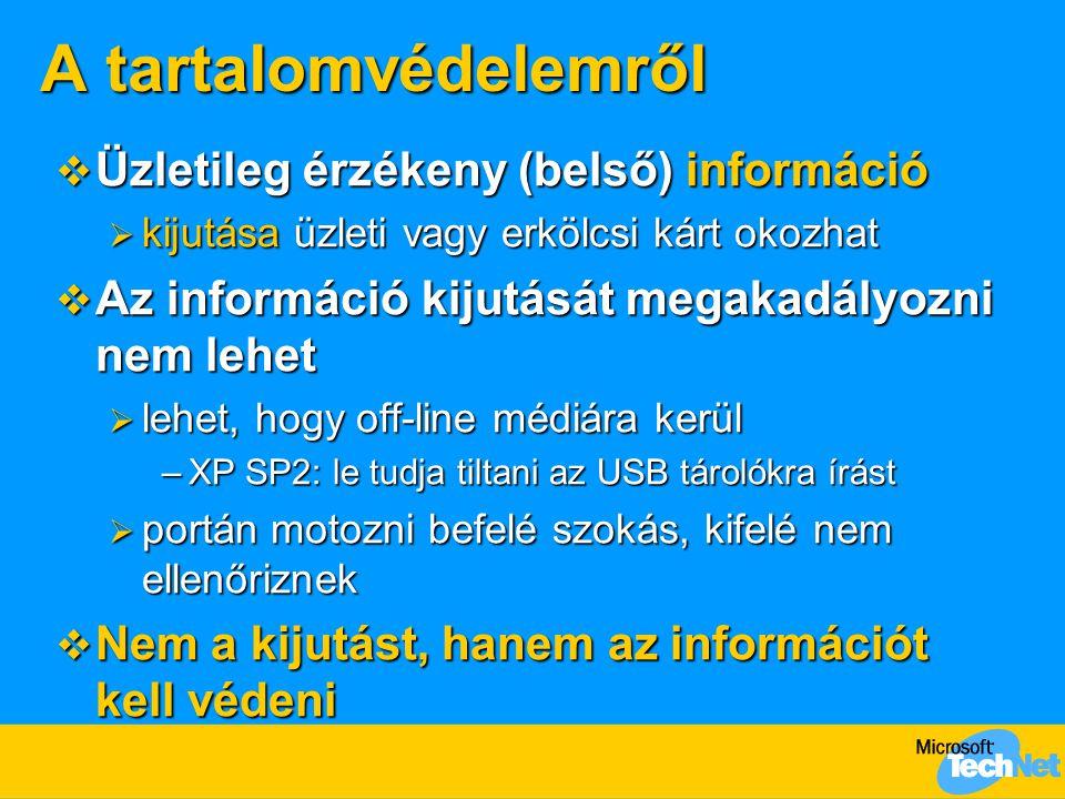 A tartalomvédelemről  Üzletileg érzékeny (belső) információ  kijutása üzleti vagy erkölcsi kárt okozhat  Az információ kijutását megakadályozni nem