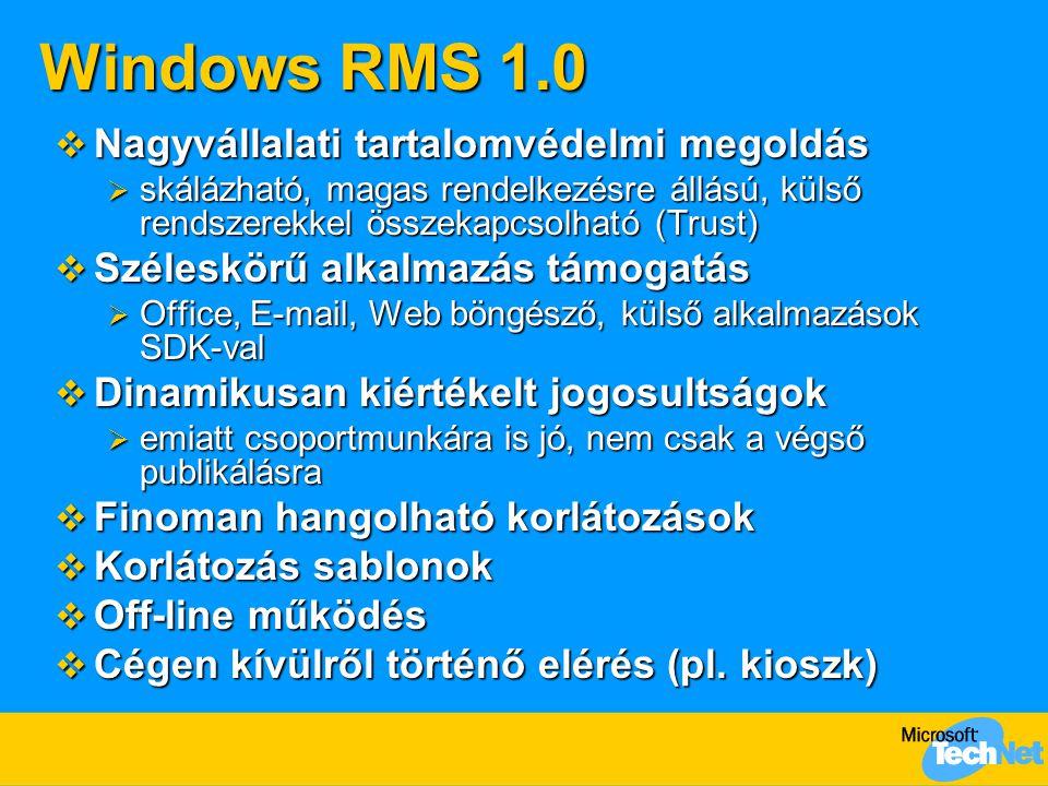 Windows RMS 1.0  Nagyvállalati tartalomvédelmi megoldás  skálázható, magas rendelkezésre állású, külső rendszerekkel összekapcsolható (Trust)  Szél