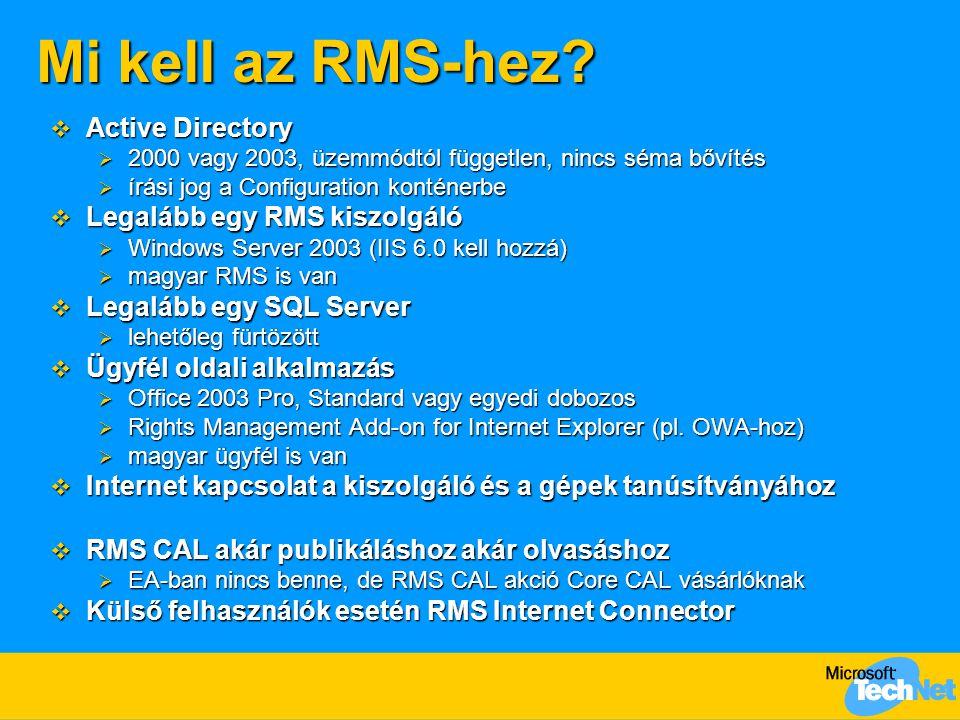 Mi kell az RMS-hez?  Active Directory  2000 vagy 2003, üzemmódtól független, nincs séma bővítés  írási jog a Configuration konténerbe  Legalább eg