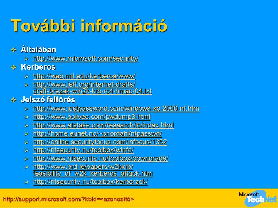További információ  Általában  http://www.microsoft.com/security/ http://www.microsoft.com/security/  Kerberos  http://web.mit.edu/kerberos/www/ h