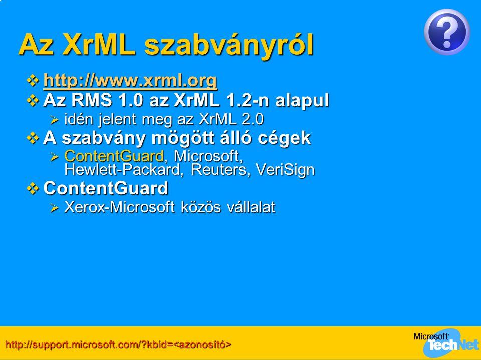 Az XrML szabványról  http://www.xrml.org http://www.xrml.org  Az RMS 1.0 az XrML 1.2-n alapul  idén jelent meg az XrML 2.0  A szabvány mögött álló