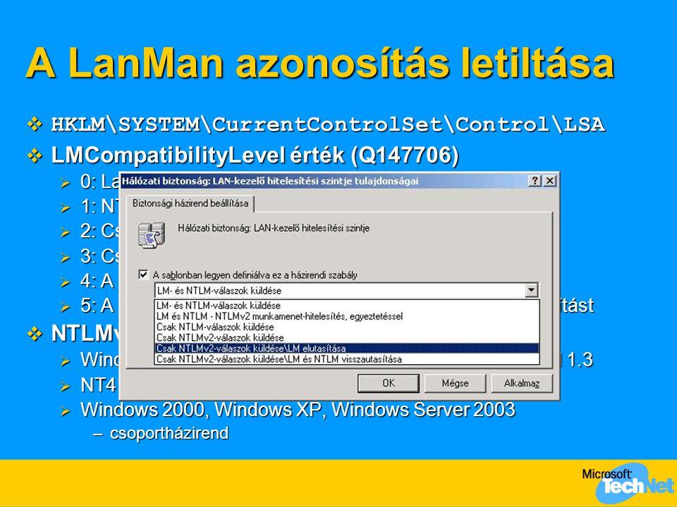 A LanMan azonosítás letiltása  HKLM\SYSTEM\CurrentControlSet\Control\LSA  LMCompatibilityLevel érték (Q147706)  0: LanMan és NTLM; NTLMv2 soha  1: