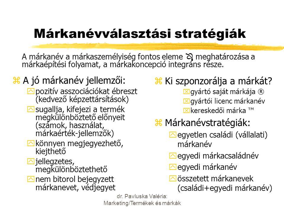 dr. Pavluska Valéria: Marketing/Termékek és márkák Márkanévválasztási stratégiák zA jó márkanév jellemzői: ypozitív asszociációkat ébreszt (kedvező ké