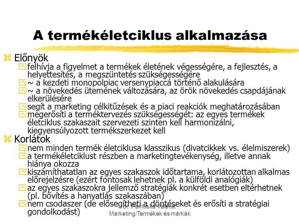 dr. Pavluska Valéria: Marketing/Termékek és márkák A termékéletciklus alkalmazása zElőnyök yfelhívja a figyelmet a termékek életének végességére, a fe