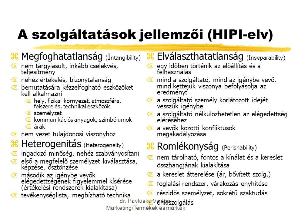 dr. Pavluska Valéria: Marketing/Termékek és márkák A szolgáltatások jellemzői (HIPI-elv) zMegfoghatatlanság ( I ntangibility) Õnem tárgyiasult, inkább