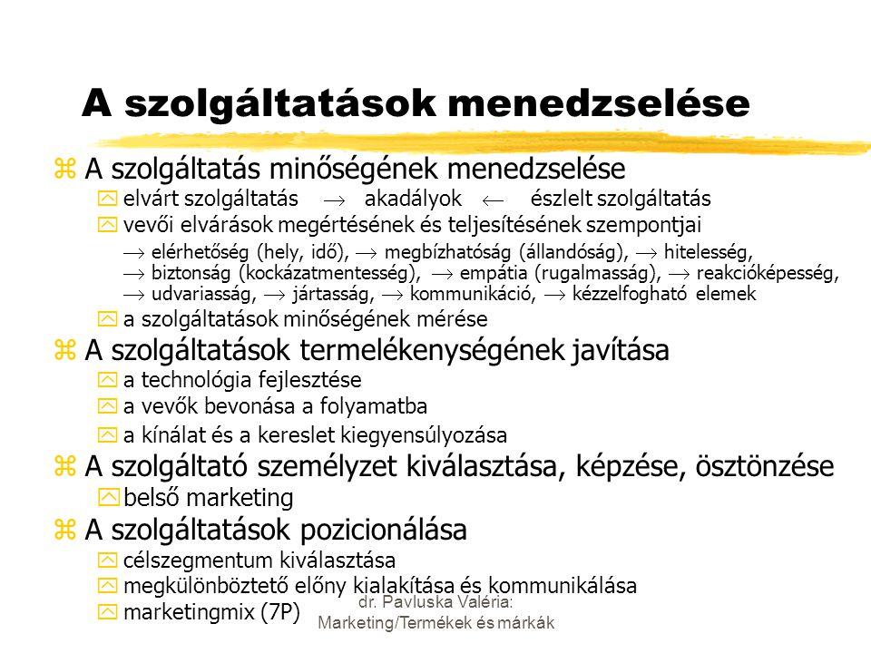 dr. Pavluska Valéria: Marketing/Termékek és márkák A szolgáltatások menedzselése zA szolgáltatás minőségének menedzselése yelvárt szolgáltatás  akadá