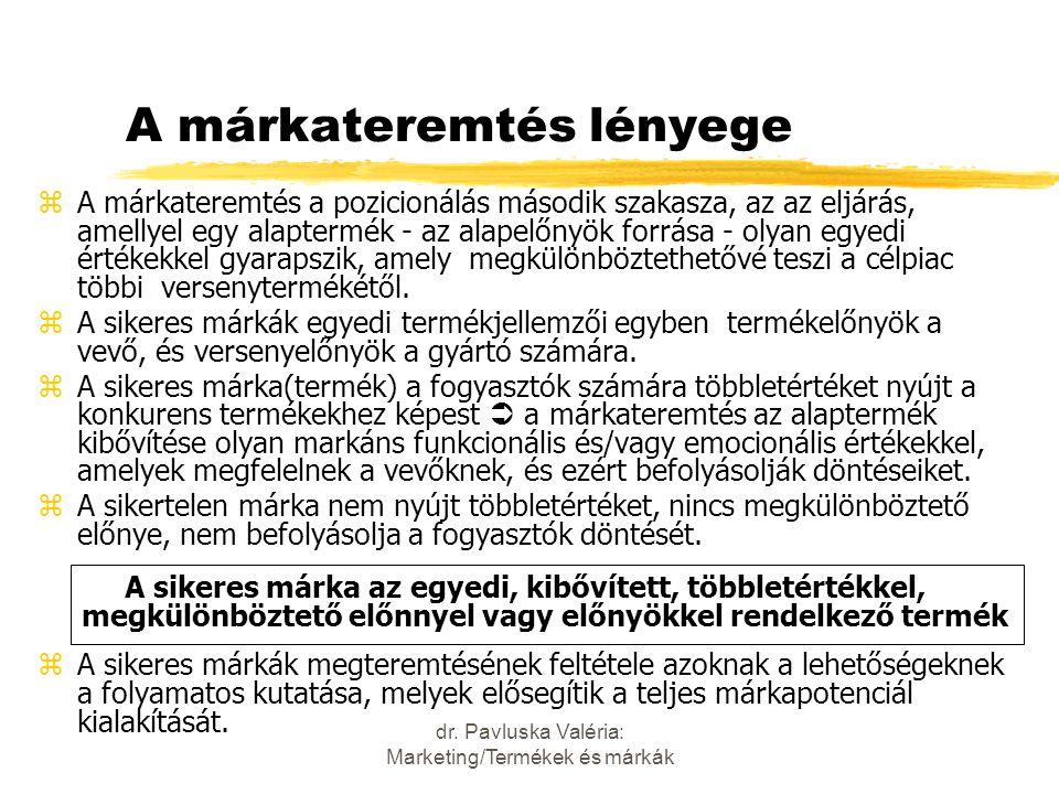 dr. Pavluska Valéria: Marketing/Termékek és márkák A márkateremtés lényege zA márkateremtés a pozicionálás második szakasza, az az eljárás, amellyel e