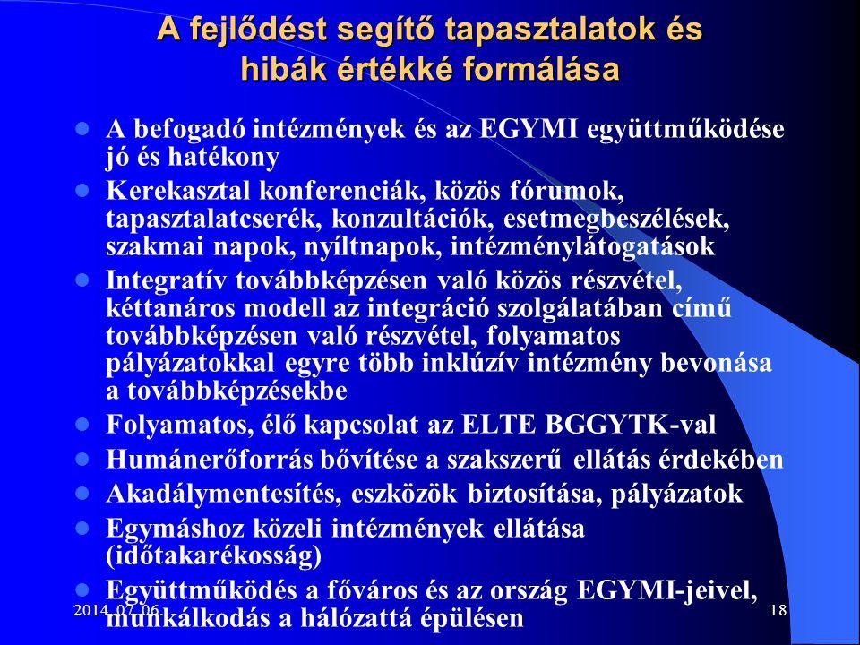 2014. 07. 06.18 A fejlődést segítő tapasztalatok és hibák értékké formálása A befogadó intézmények és az EGYMI együttműködése jó és hatékony Kerekaszt