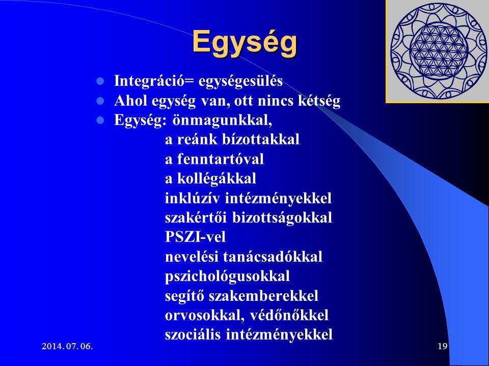 2014. 07. 06.19 Egység Integráció= egységesülés Ahol egység van, ott nincs kétség Egység: önmagunkkal, a reánk bízottakkal a fenntartóval a kollégákka