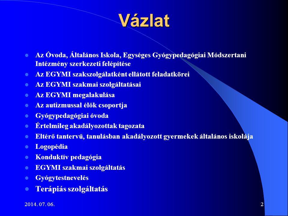 2014. 07. 06.2Vázlat Az Óvoda, Általános Iskola, Egységes Gyógypedagógiai Módszertani Intézmény szerkezeti felépítése Az EGYMI szakszolgálatként ellát