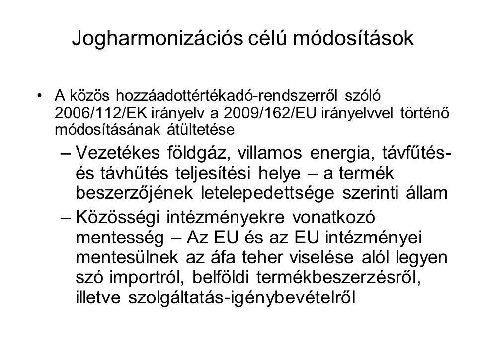 Jogharmonizációs célú módosítások A közös hozzáadottértékadó-rendszerről szóló 2006/112/EK irányelv a 2009/162/EU irányelvvel történő módosításának át