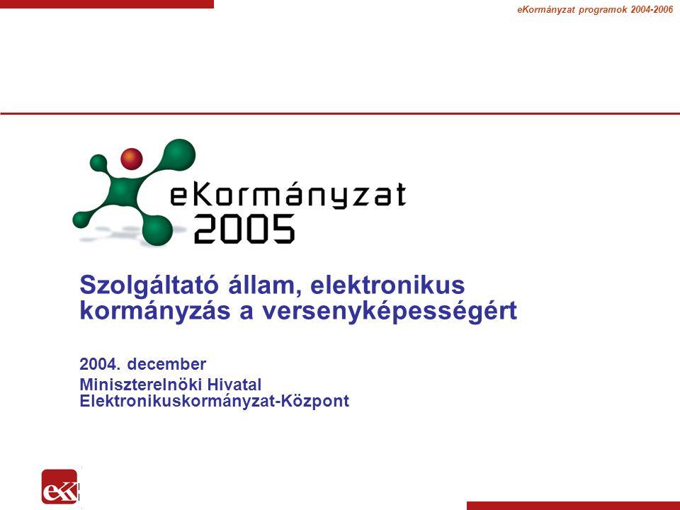 eKormányzat programok 2004-2006 Szolgáltató állam, elektronikus kormányzás a versenyképességért 2004.