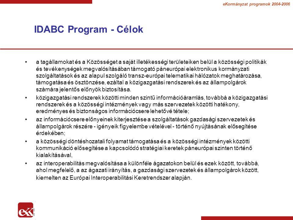 eKormányzat programok 2004-2006 IDABC Program - Célok a tagállamokat és a Közösséget a saját illetékességi területeiken belül a közösségi politikák és tevékenységek megvalósításában támogató páneurópai elektronikus kormányzati szolgáltatások és az alapul szolgáló transz-európai telematikai hálózatok meghatározása, támogatása és ösztönzése, ezáltal a közigazgatási rendszerek és az állampolgárok számára jelentős előnyök biztosítása.