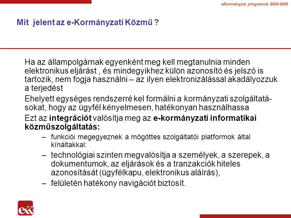 eKormányzat programok 2004-2006 Az EU 20 alapvető kormányzati szolgáltatást jelölt meg, melyeket a tagországoknak létre kell hozniuk Állampolgárok számára 12 kormányzati szolgáltatás 1.Személyi jövedelemadó: bevallás, tájékoztatás az értékelésről 2.Álláskeresés a munkaügyi központokon keresztül 3.Járulékokkal összefüggő szolgáltatások ( munkanélküli járadék, családtámogatás, gyógyászati költségek, ösztöndíjak ) 4.Személyi iratok ( útlevél, jogosítvány ) 5.Gépkocsi nyilvántartás (új, használt és import gépjárművek) 6.Építési engedély igénylése 7.Rendőrségi bejelentések (pl.
