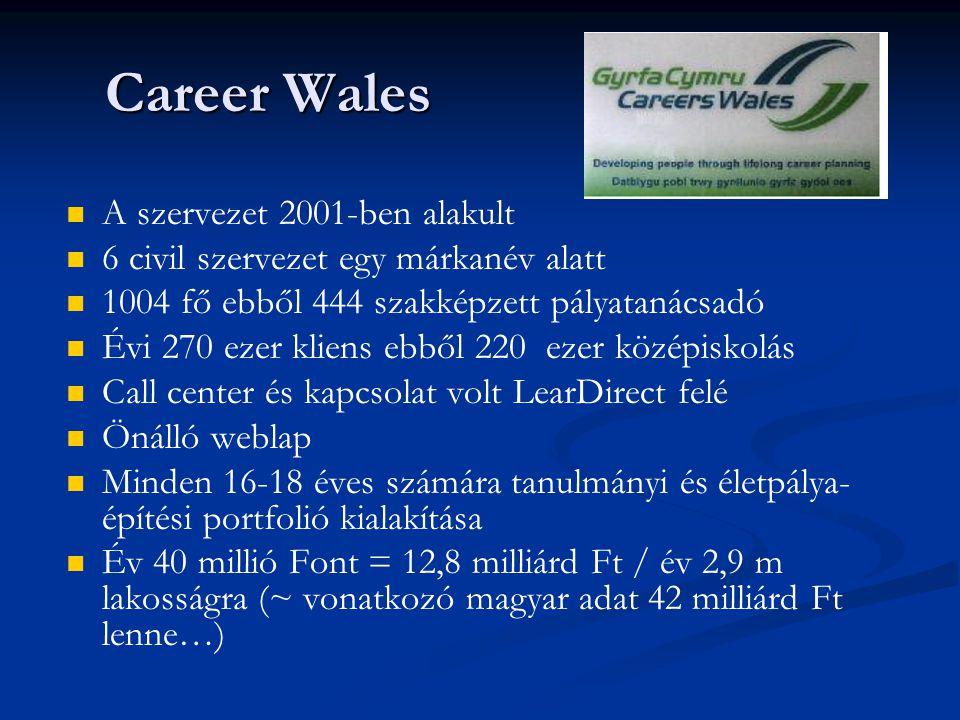 Career Wales A szervezet 2001-ben alakult 6 civil szervezet egy márkanév alatt 1004 fő ebből 444 szakképzett pályatanácsadó Évi 270 ezer kliens ebből