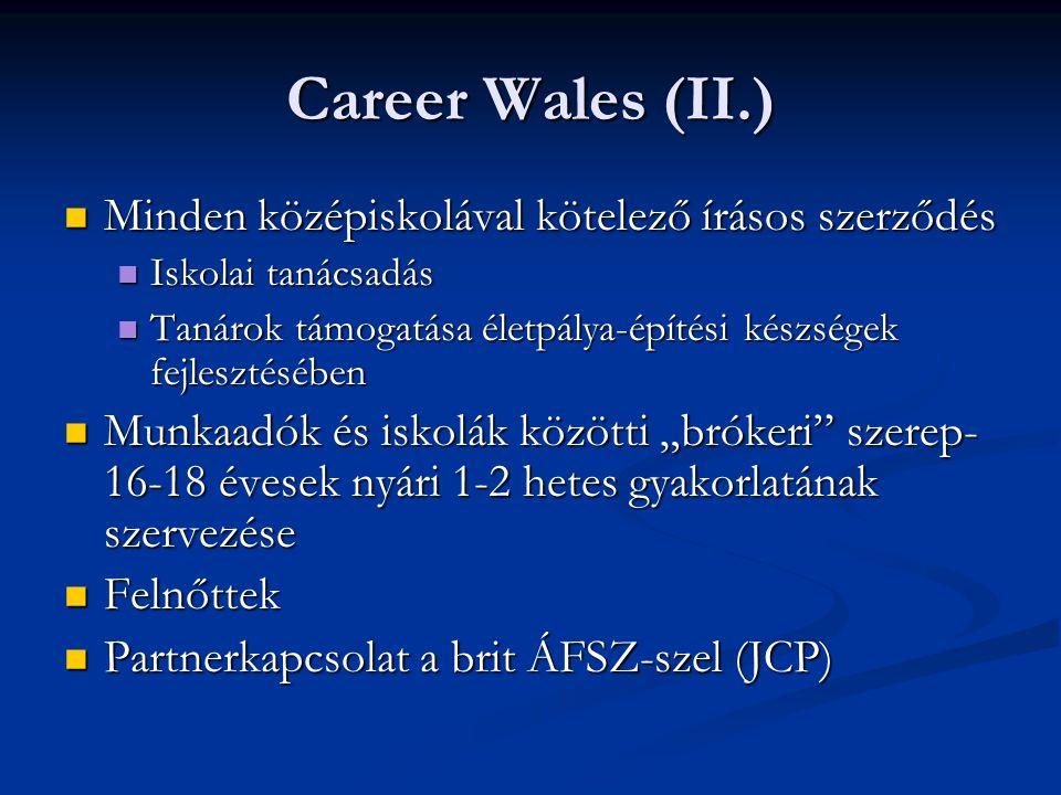 Career Wales (II.) Minden középiskolával kötelező írásos szerződés Minden középiskolával kötelező írásos szerződés Iskolai tanácsadás Iskolai tanácsad