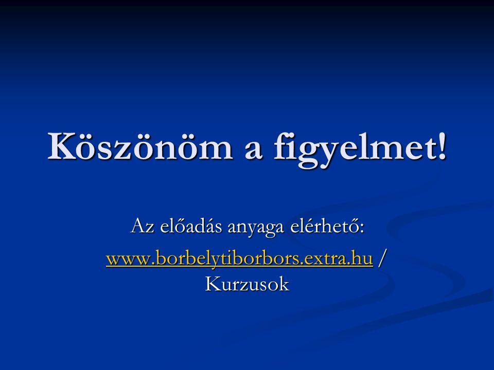 Köszönöm a figyelmet! Az előadás anyaga elérhető: www.borbelytiborbors.extra.huwww.borbelytiborbors.extra.hu / Kurzusok www.borbelytiborbors.extra.hu