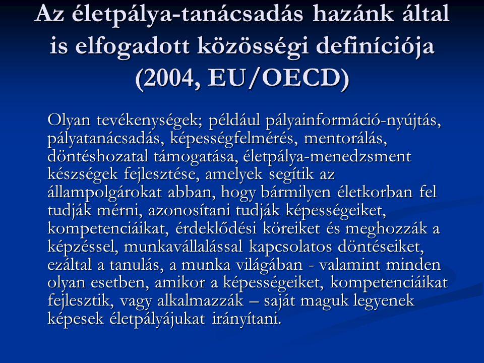 Az életpálya-tanácsadás hazánk által is elfogadott közösségi definíciója (2004, EU/OECD) Olyan tevékenységek; például pályainformáció-nyújtás, pályata