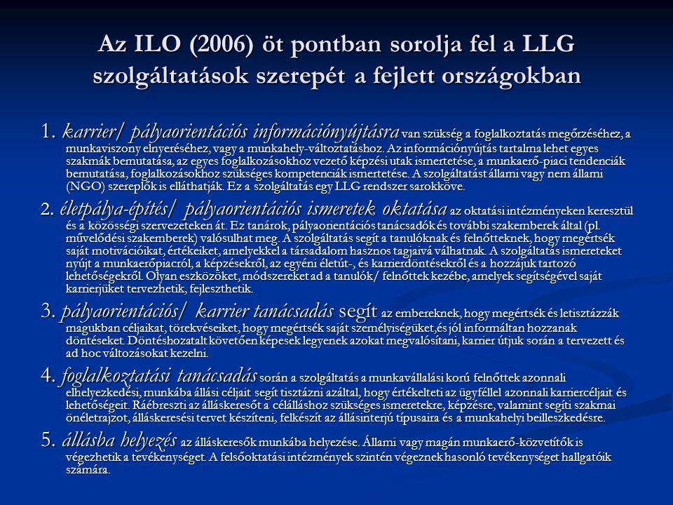 Az ILO (2006) öt pontban sorolja fel a LLG szolgáltatások szerepét a fejlett országokban 1. karrier/ pályaorientációs információnyújtásra van szükség