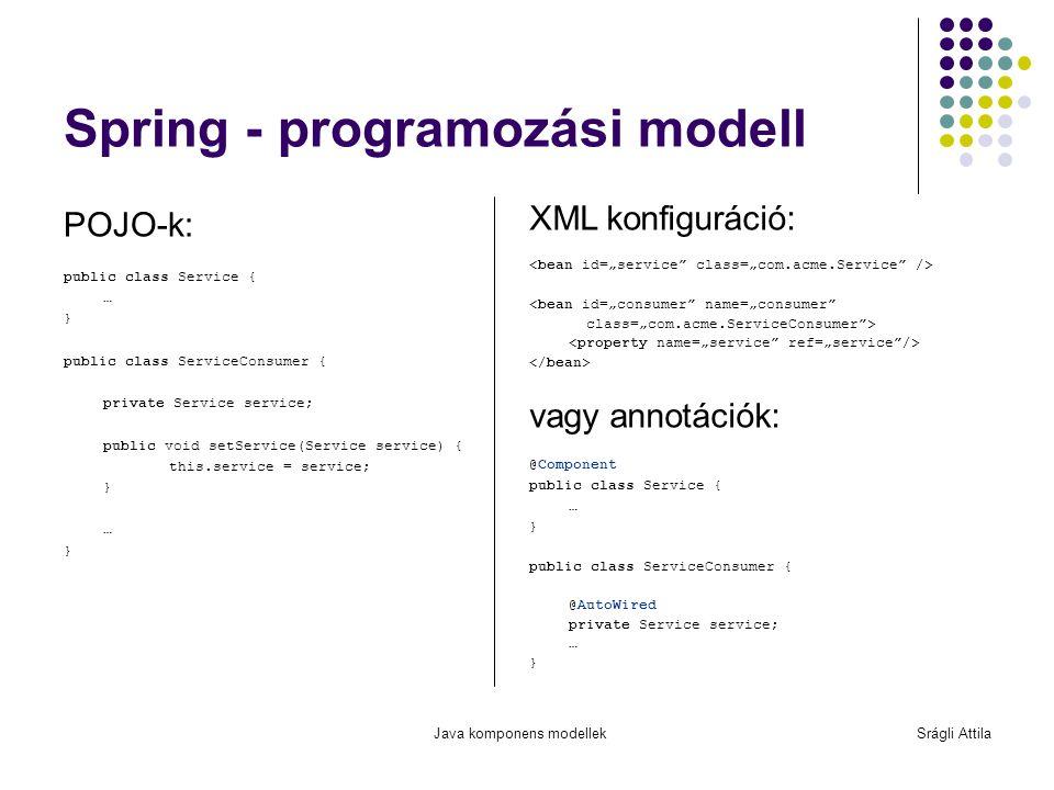 Java komponens modellekSrágli Attila Spring - programozási modell POJO-k: public class Service { … } public class ServiceConsumer { private Service se