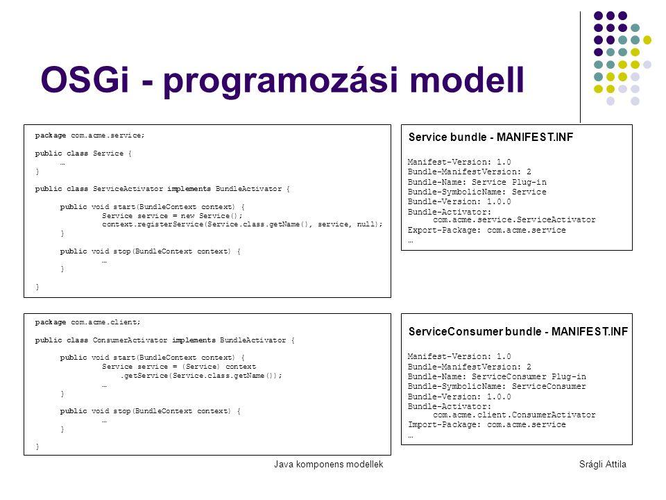 Java komponens modellekSrágli Attila OSGi - programozási modell package com.acme.service; public class Service { … } public class ServiceActivator imp