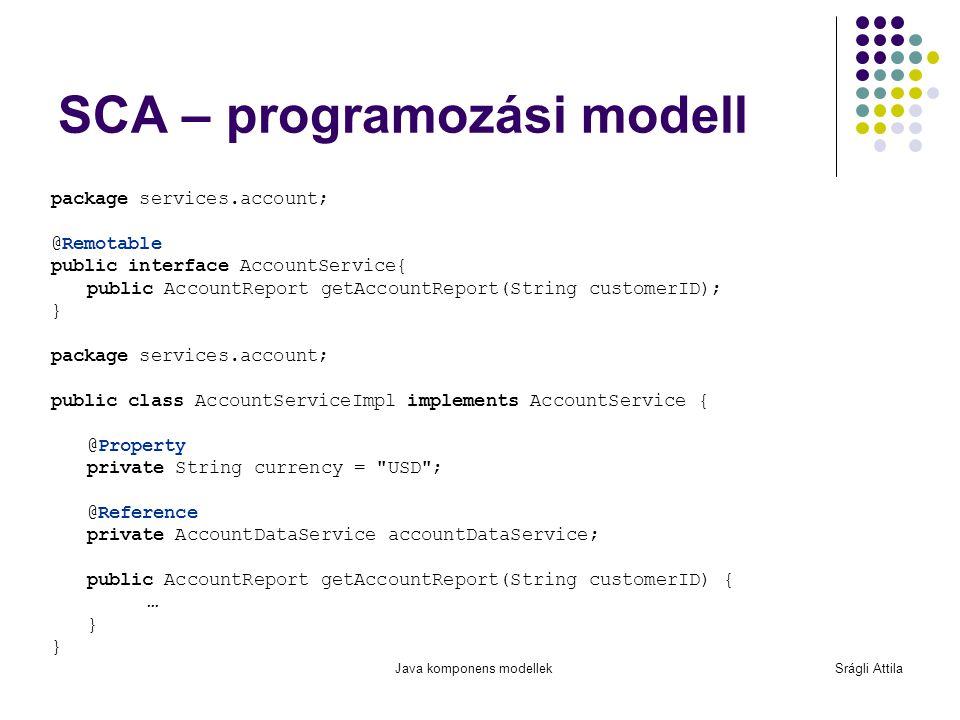Java komponens modellekSrágli Attila SCA – programozási modell package services.account; @Remotable public interface AccountService{ public AccountRep