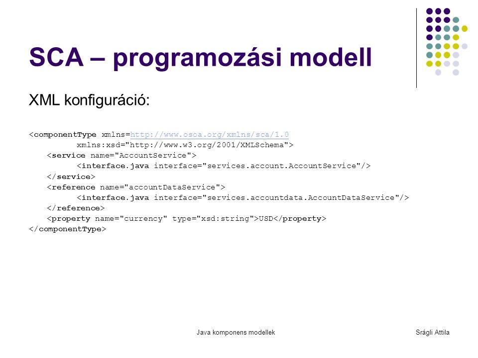 Java komponens modellekSrágli Attila SCA – programozási modell XML konfiguráció: <componentType xmlns=http://www.osoa.org/xmlns/sca/1.0http://www.osoa