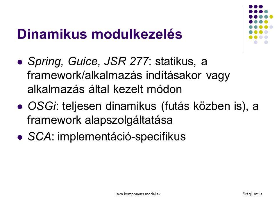 Java komponens modellekSrágli Attila Dinamikus modulkezelés Spring, Guice, JSR 277: statikus, a framework/alkalmazás indításakor vagy alkalmazás által