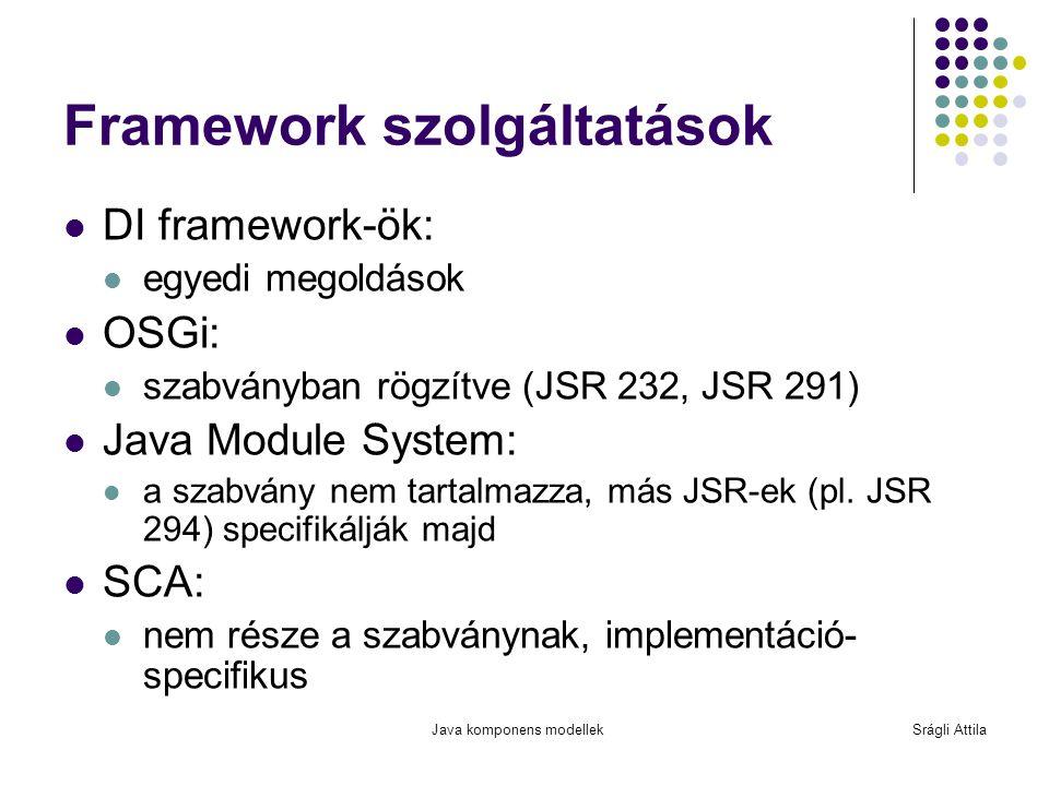 Java komponens modellekSrágli Attila Framework szolgáltatások DI framework-ök: egyedi megoldások OSGi: szabványban rögzítve (JSR 232, JSR 291) Java Mo