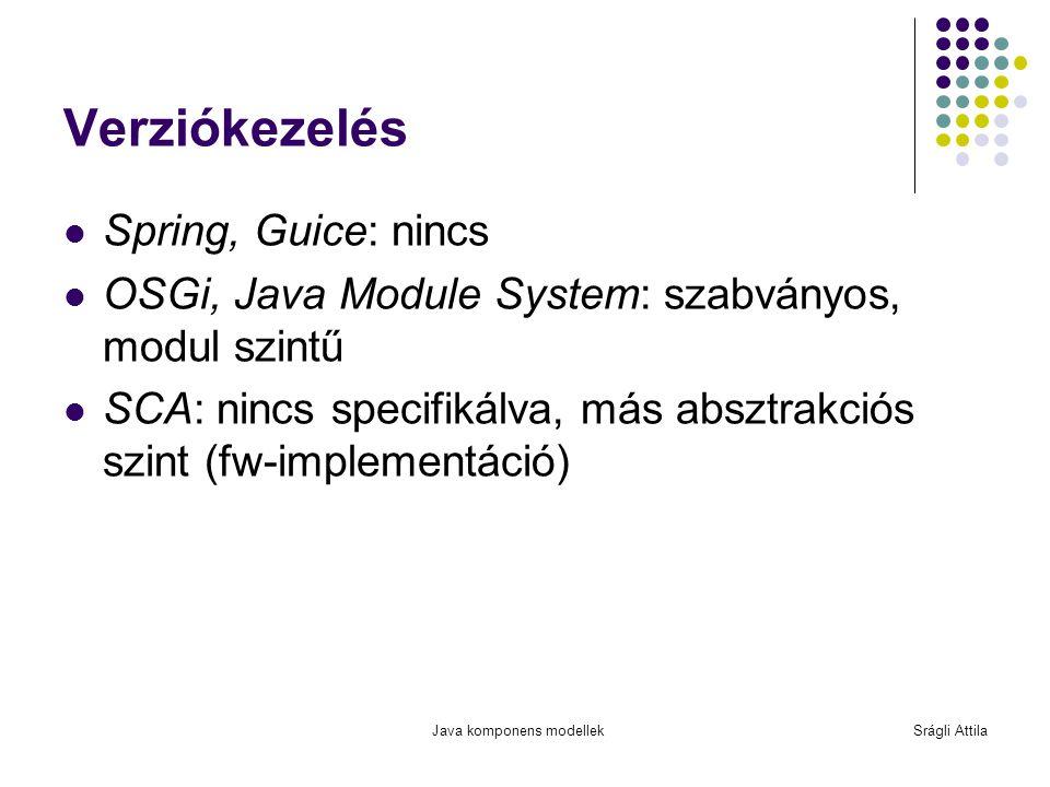 Java komponens modellekSrágli Attila Verziókezelés Spring, Guice: nincs OSGi, Java Module System: szabványos, modul szintű SCA: nincs specifikálva, má