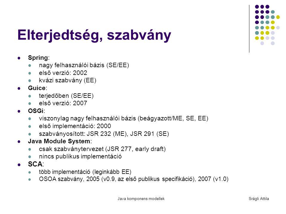 Java komponens modellekSrágli Attila Elterjedtség, szabvány Spring: nagy felhasználói bázis (SE/EE) első verzió: 2002 kvázi szabvány (EE) Guice: terje