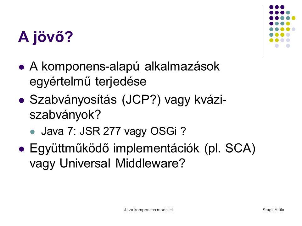 Java komponens modellekSrágli Attila A jövő? A komponens-alapú alkalmazások egyértelmű terjedése Szabványosítás (JCP?) vagy kvázi- szabványok? Java 7:
