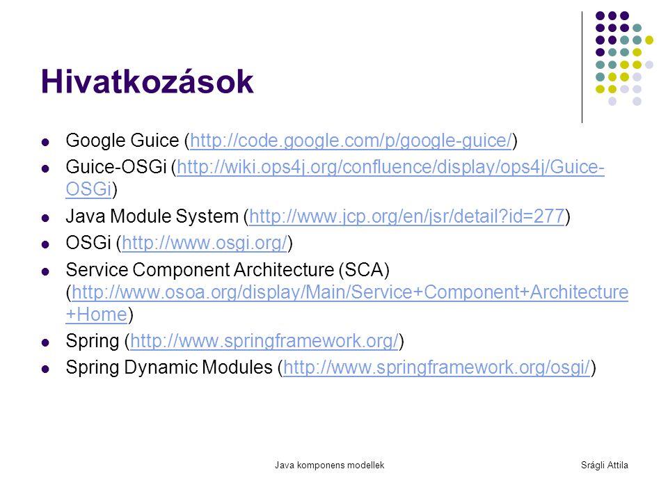 Java komponens modellekSrágli Attila Hivatkozások Google Guice (http://code.google.com/p/google-guice/)http://code.google.com/p/google-guice/ Guice-OS