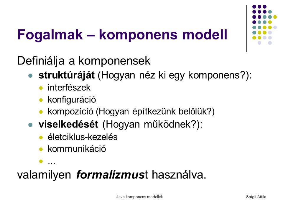 Java komponens modellekSrágli Attila Fogalmak – komponens framework A komponens modell implementációja Kezeli a komponensek függőségeit életciklusát (telepítés, indítás, leállítás, frissítés, eltávolítás) nem-funkcionális követelményeit (QoS, perzisztencia, naplózás, kommunikáció, biztonság, tranzakciók stb.) -> fw.