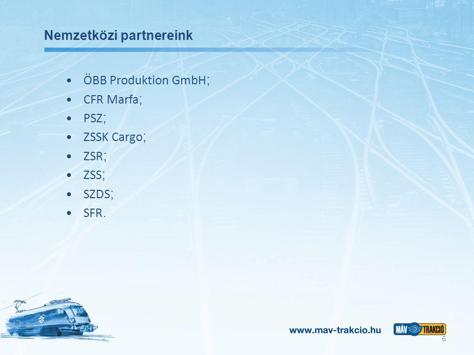 Nemzetközi partnereink ÖBB Produktion GmbH ; CFR Marfa ; PSZ ; ZSSK Cargo ; ZSR ; ZSS ; SZDS ; SFR.