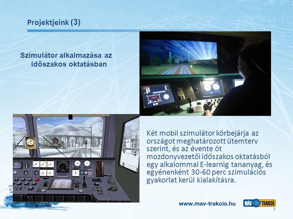 Projektjeink (3) Két mobil szimulátor körbejárja az országot meghatározott ütemterv szerint, és az évente öt mozdonyvezetői időszakos oktatásból egy alkalommal E-learnig tananyag, és egyénenként 30-60 perc szimulációs gyakorlat kerül kialakításra.