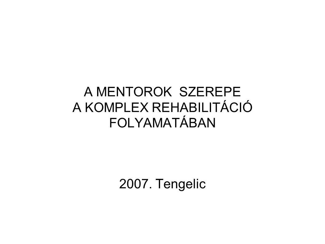 A MENTOROK SZEREPE A KOMPLEX REHABILITÁCIÓ FOLYAMATÁBAN 2007. Tengelic