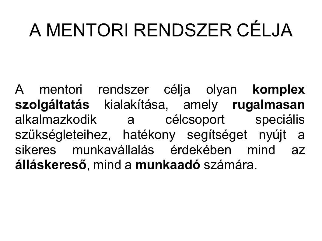 A MENTORI RENDSZER CÉLJA A mentori rendszer célja olyan komplex szolgáltatás kialakítása, amely rugalmasan alkalmazkodik a célcsoport speciális szükségleteihez, hatékony segítséget nyújt a sikeres munkavállalás érdekében mind az álláskereső, mind a munkaadó számára.