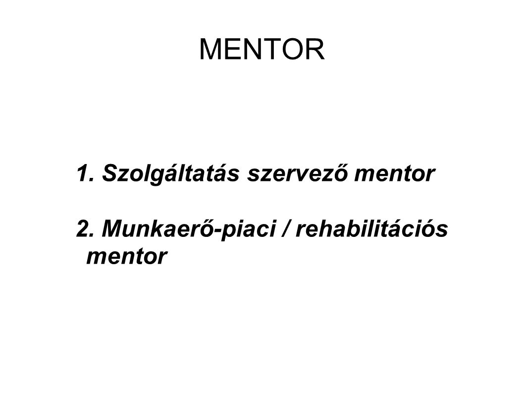 MENTOR 1. Szolgáltatás szervező mentor 2. Munkaerő-piaci / rehabilitációs mentor