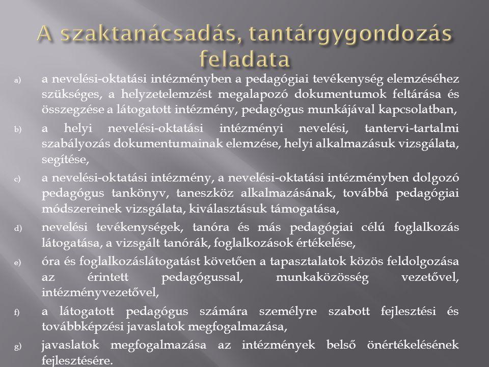 a) a nevelési-oktatási intézményben a pedagógiai tevékenység elemzéséhez szükséges, a helyzetelemzést megalapozó dokumentumok feltárása és összegzése