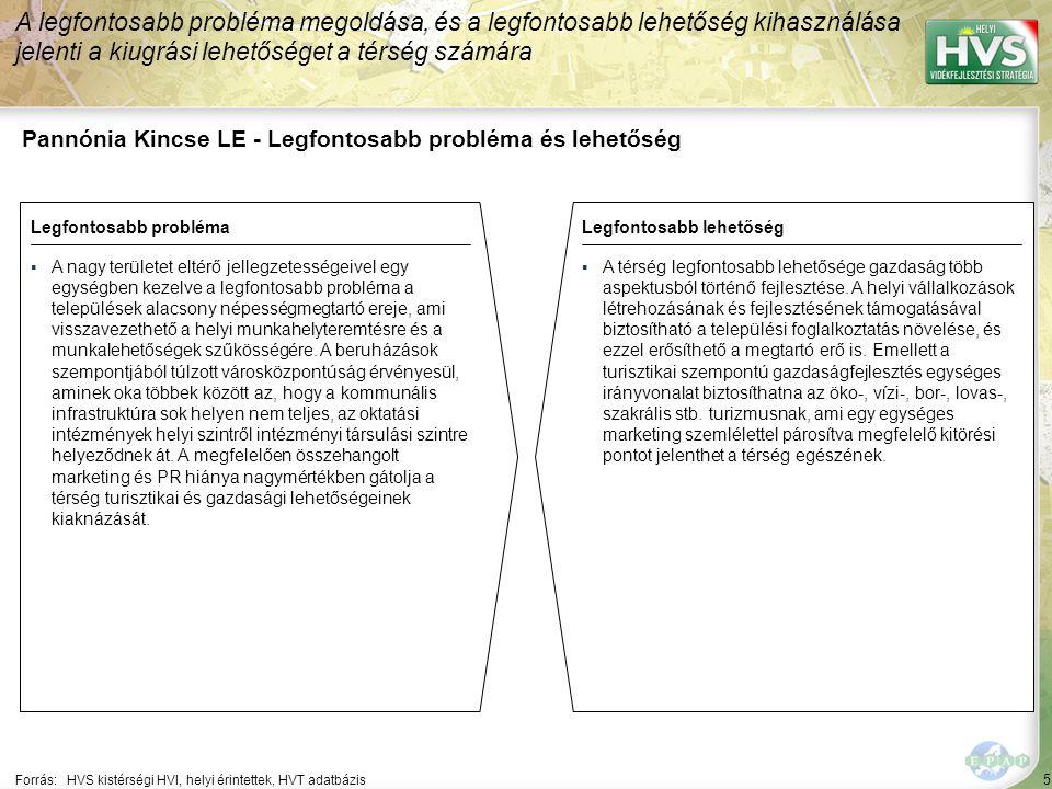 5 Pannónia Kincse LE - Legfontosabb probléma és lehetőség A legfontosabb probléma megoldása, és a legfontosabb lehetőség kihasználása jelenti a kiugrási lehetőséget a térség számára Forrás:HVS kistérségi HVI, helyi érintettek, HVT adatbázis Legfontosabb problémaLegfontosabb lehetőség ▪A nagy területet eltérő jellegzetességeivel egy egységben kezelve a legfontosabb probléma a települések alacsony népességmegtartó ereje, ami visszavezethető a helyi munkahelyteremtésre és a munkalehetőségek szűkösségére.