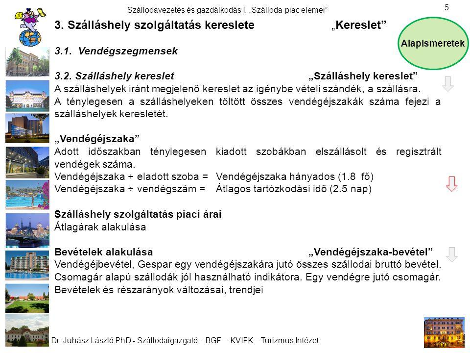 """Dr. Juhász László PhD - Szállodaigazgató – BGF – KVIFK – Turizmus Intézet Szállodavezetés és gazdálkodás I. """"Szálloda-piac elemei"""" 5 3. Szálláshely sz"""