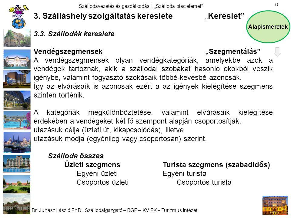 """Dr. Juhász László PhD - Szállodaigazgató – BGF – KVIFK – Turizmus Intézet Szállodavezetés és gazdálkodás I. """"Szálloda-piac elemei"""" 6 3. Szálláshely sz"""