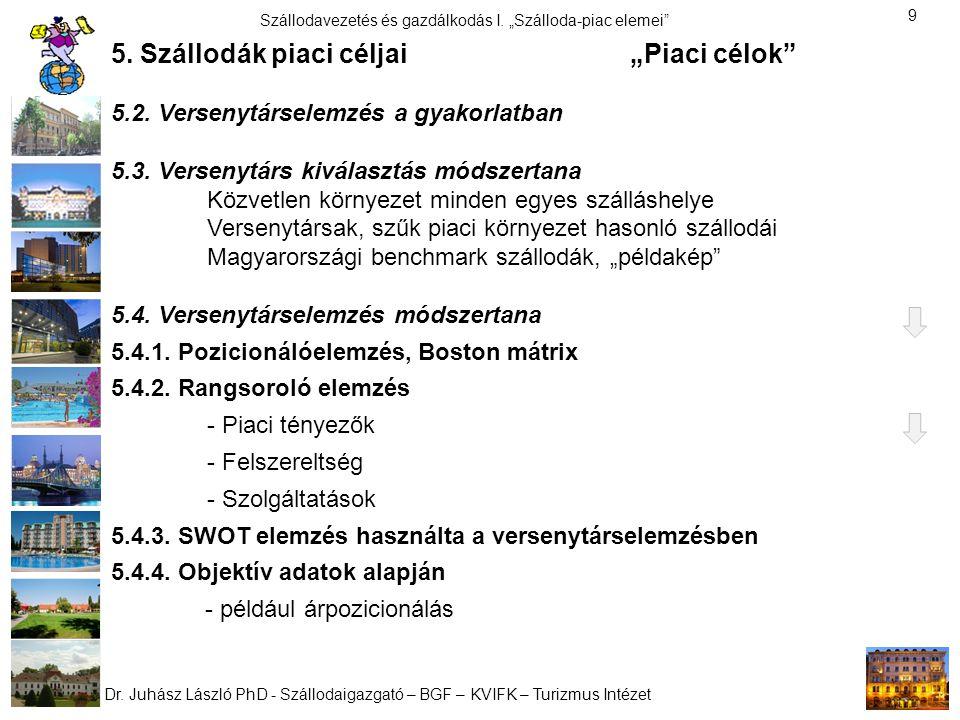 """Dr. Juhász László PhD - Szállodaigazgató – BGF – KVIFK – Turizmus Intézet Szállodavezetés és gazdálkodás I. """"Szálloda-piac elemei"""" 9 5. Szállodák piac"""